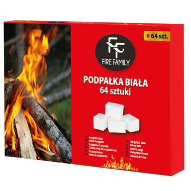 Podpałka - trociny 64 KOSTKI 0.4kg FIRE FAMILY