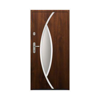 Drzwi zewnętrzne stalowe antywłamaniowe RC2 Ottawa 90 prawe orzech Loxa