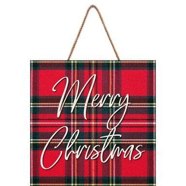 Tabliczka świąteczna Krata czerwona 30 x 30 cm