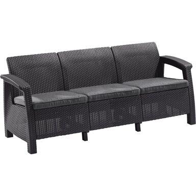 Sofa ogrodowa 3-osobowa CORFU antracytowa ALLIBERT