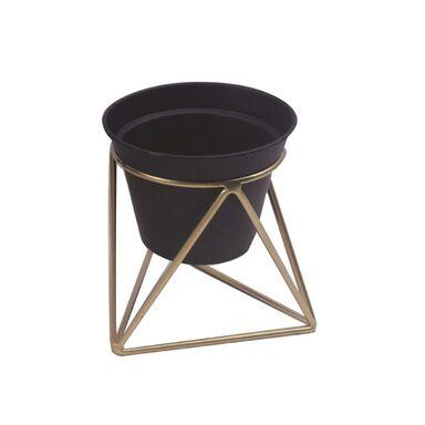 Osłonka na stojaku metalowym śr. 15 cm czarno-złota MODERN
