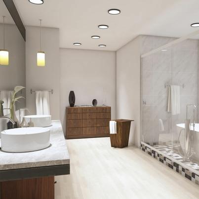 Jasna łazienka w stylu modernistycznym