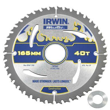Tarcza do pilarki tarczowej 165MM/40T/30(20)  165 mm zęby: 40 szt. IRWIN WELDTEC