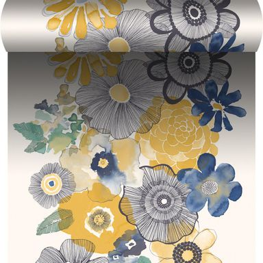 Tapeta w kwiaty VILLAGE PEOPLE żółto-niebieska winylowa na flizelinie