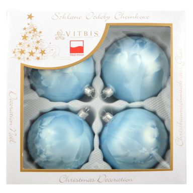 Bombka szklana 10 cm 4 szt. niebieska