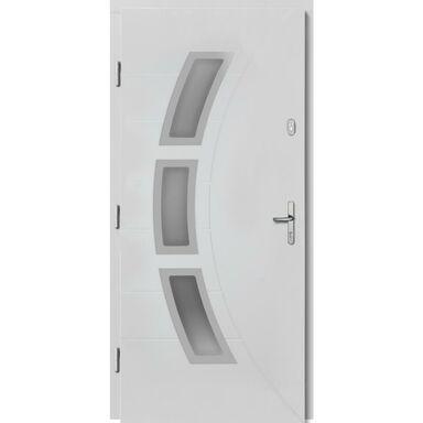 Drzwi zewnętrzne drewnianie przeszklone Bianka białe 90 Lewe Lupol