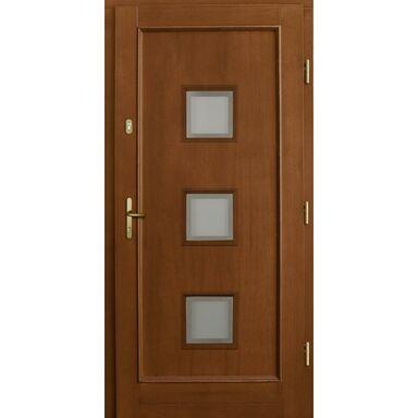 Drzwi zewnętrzne drewniane przeszklone H412 P1 orzech 90 prawe Lupol