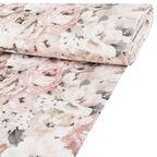 Tkanina obiciowa na mb MARISA szara w kwiaty szer. 140 cm