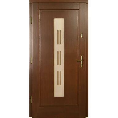 Drzwi zewnętrzne drewniane przeszklone Laura P1 orzech 90 Lewe Lupol
