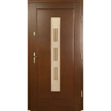 Drzwi zewnętrzne drewniane przeszklone Laura P1 orzech 90 prawe Lupol