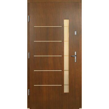 Drzwi zewnętrzne drewniane przeszklone Dalia P1 orzech 90 lewe Lupol