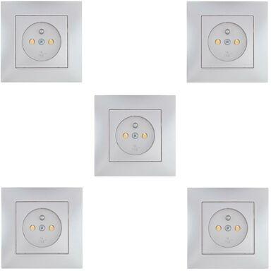 Zestaw 5 gniazd pojedynczych z uziemieniem CARLA  srebny  ELEKTRO-PLAST