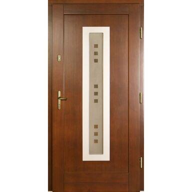 Drzwi zewnętrzne drewniane przeszklone NEW3 P1 orzech 90 prawe Lupol