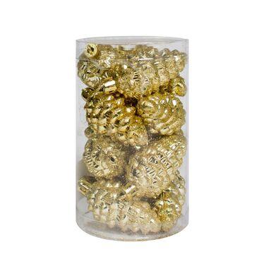 Bombka plastikowa 6 cm 12 szt. złote szyszki