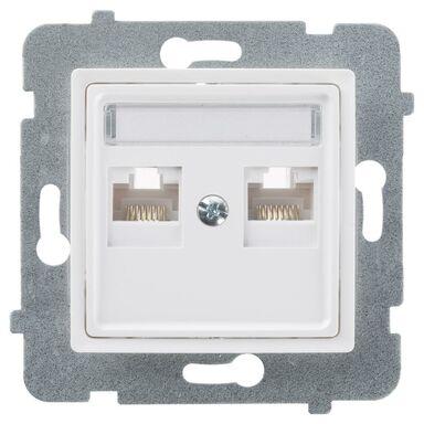 Gniazdo komputerowe podwójne ROSA  biały  POLMARK