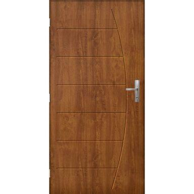 Drzwi zewnętrzne stalowe antywłamaniowe RC3 Metz 80 lewe złoty dąb Pantor