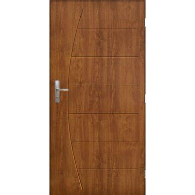 Drzwi zewnętrzne stalowe antywłamaniowe RC3 Metz 80 prawe złoty dąb Pantor