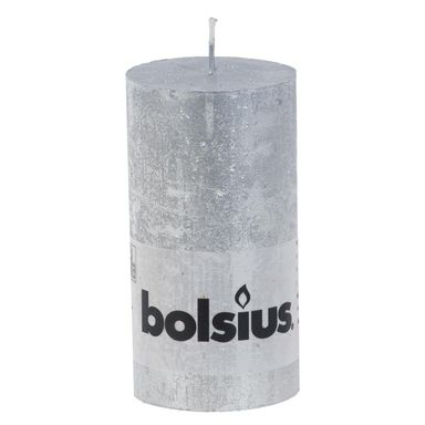 Świeca pieńkowa Rustic Metallic srebrna wys. 13 cm Bolsius