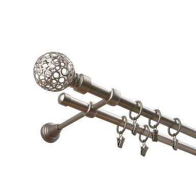 Karnisz KULA RETRO 160 cm podwójny chrom 16 mm metalowy