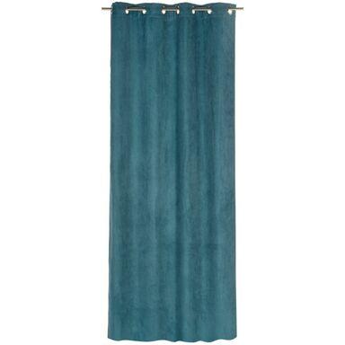 Zasłona gotowa SUEDE  kolor Niebieski 140 x 260 cm Kółka 180 g/m²  INSPIRE