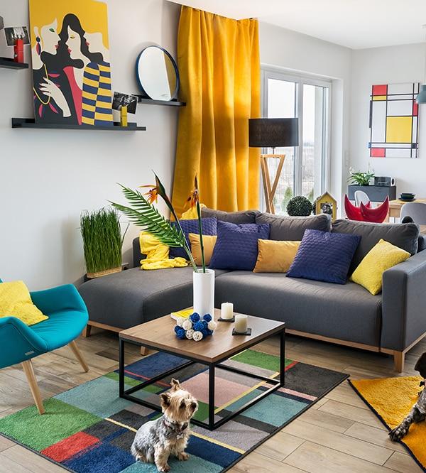 Salon pełen żywych kolorów