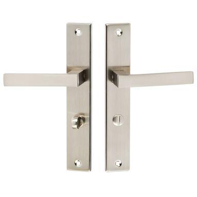 Klamka drzwiowa z długim szyldem do WC QUBIK 72 Satyna KUCHINOX