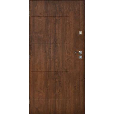Drzwi zewnętrzne stalowe  BARCELONA Orzech 80 Lewe SEDRO