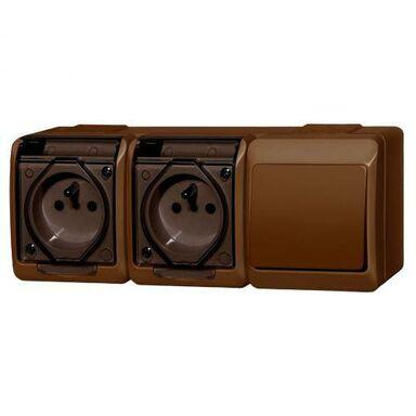 Gniazdo podwójne 2x2P+Z + włącznik schodowy 2x2P+Z HERMES  Brązowy  ELEKTRO - PLAST