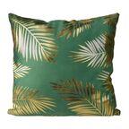 Poduszka w złote liście Golden Style zielona 45 x 45 cm