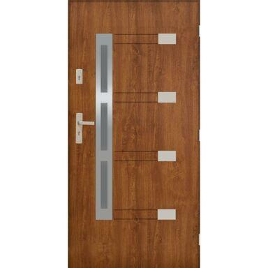 Drzwi zewnętrzne stalowe  NIMES Złoty dąb 90 Prawe PANTOR