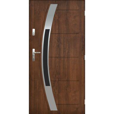 Drzwi zewnętrzne stalowe STRASBURG Orzech 90 Prawe PANTOR