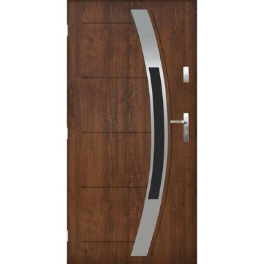 Drzwi zewnętrzne stalowe STRASBURG Orzech 90 Lewe PANTOR