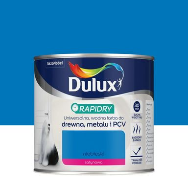 Farba wodna do drewna, metalu i PCV RAPIDRY 0.4 l Niebieski satynowy DULUX