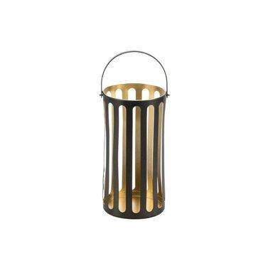 Świecznik lampion metalowy na świeczkę wys. 23.5 cm czarno-złoty