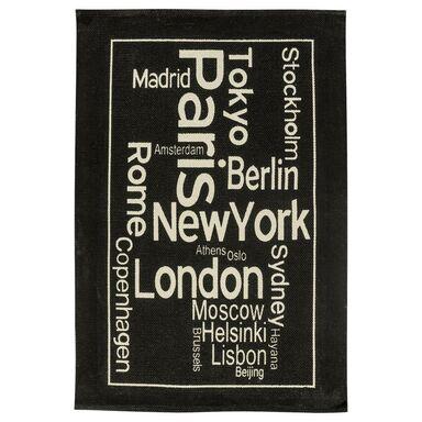 Dywan bawełniany WAY OF LIFE czarny 60 x 100 cm INSPIRE