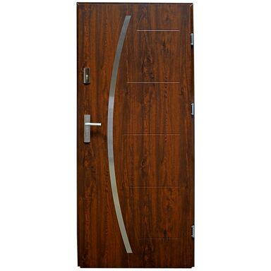 Drzwi zewnętrzne stalowe LINOX Orzech 80 Prawe