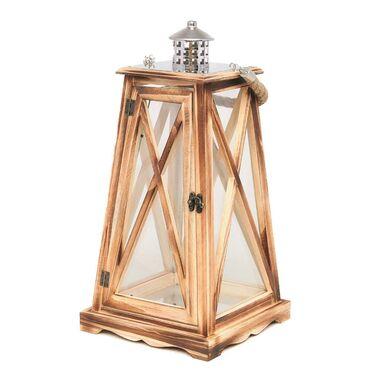 Latarenka 44 x 23 x 23 cm VALETTA drewniana brązowa