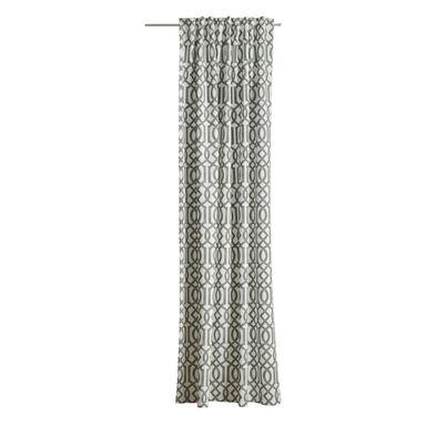 Zasłona Paola marocco beżowo-szara 140 x 260 cm na taśmie