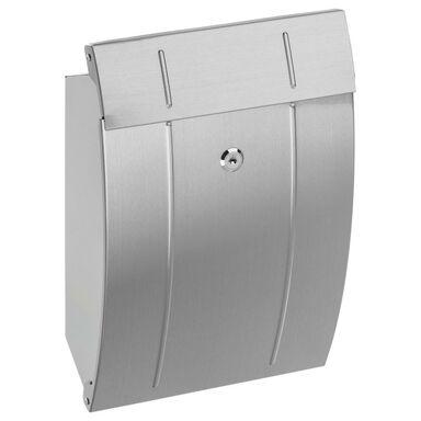 Skrzynka na listy 37.5 x 24.5 x 11.7 cm srebrna A4 STANDERS
