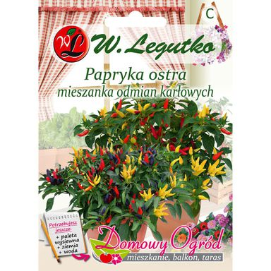 Papryka ostra MIESZANKA ODMIAN KARŁOWYCH nasiona tradycyjne 0.5 g W. LEGUTKO