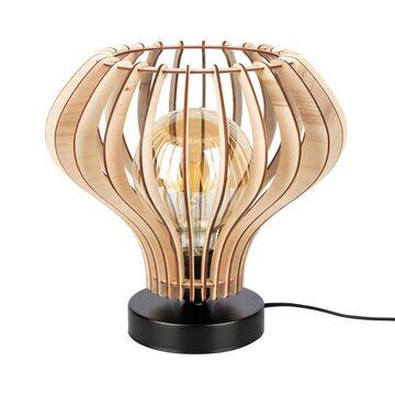 Lampa stołowa Arata czarna z drewnem E27 Spot-Light