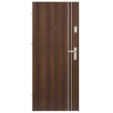Drzwi zewnętrzne drewniane Iryd 01 orzech premium 80 Lewe Domidor