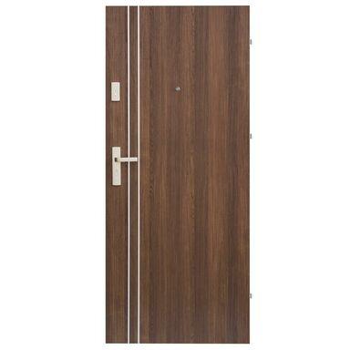Drzwi zewnętrzne drewniane Iryd 01 orzech premium 80 Prawe Domidor