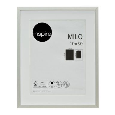 Ramka na zdjęcia Milo 40 x 50 cm srebrna MDF Inspire