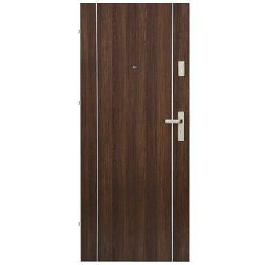 Drzwi zewnętrzne drewniane Iryd 02 orzech premium 90 Lewe Domidor