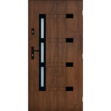 Drzwi zewnętrzne stalowe TULUZA Orzech 90 Prawe PANTOR
