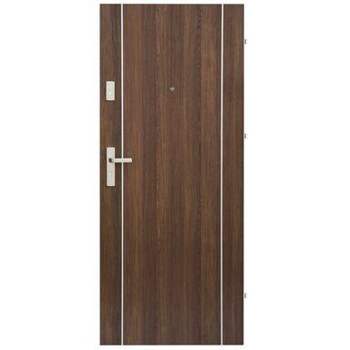 Drzwi zewnętrzne drewniane Iryd 02 orzech premium 90 Prawe Domidor