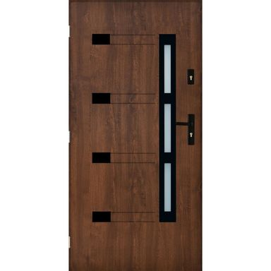 Drzwi zewnętrzne stalowe TULUZA Orzech 90 Lewe PANTOR