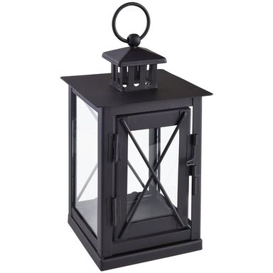Latarenka metalowa na świeczkę 20 x 12 cm czarna