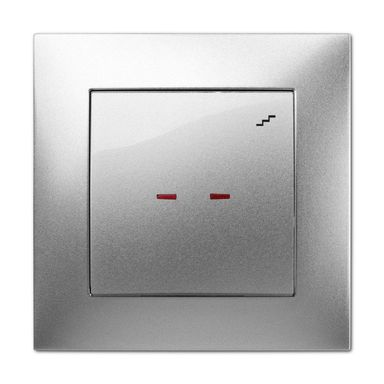 Włącznik schodowy Z PODŚWIETLENIEM CARLA  Srebrny  ELEKTRO - PLAST